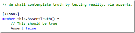 FSharp Koans Assert Truth