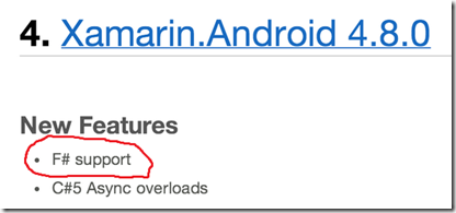 Xamarin.Android 4.8.0 - New Features - F# support