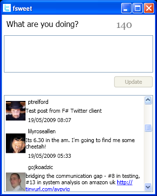screenshot of fsweet F# Twitter client